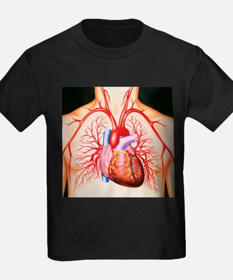 Human heart, artwork - Kid's Dark T-Shirt