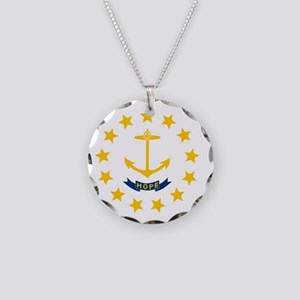 Flag of Rhode Island Necklace Circle Charm