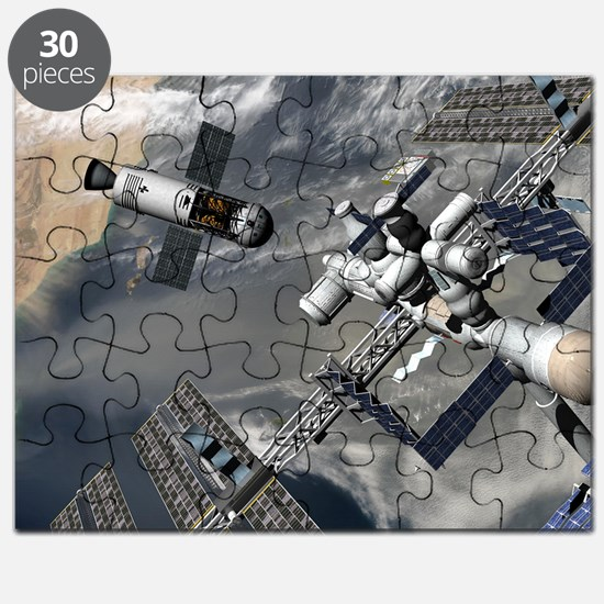 Lunar tug and the ISS, artwork - Puzzle