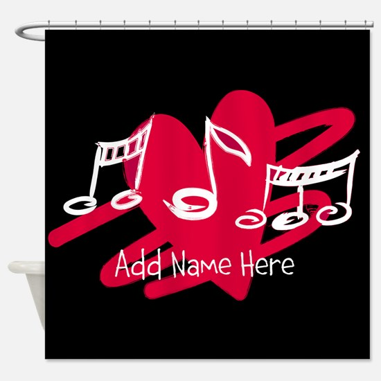 Personalized Musical notes love heart Shower Curta