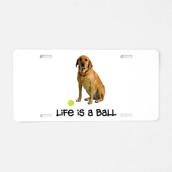 Yellow Lab Life Aluminum License Plate