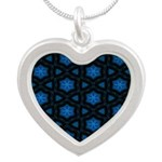 Blue Stars Pattern Silver Heart Necklace