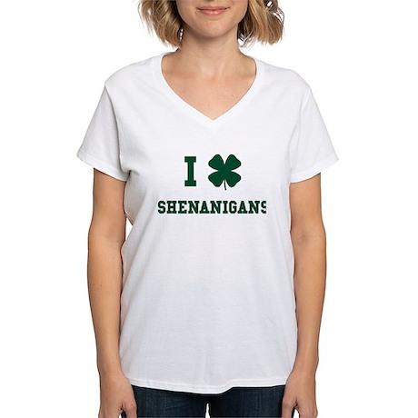 I Shamrock Shenanigans Women's V-Neck T-Shirt