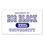 Big Block University Property Sticker (Rectangular