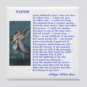 Poe Poem Alone Tile Coaster