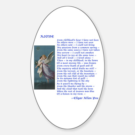 Poe Poem Alone Oval Decal