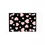 pink hearts blk bgrd Aluminum License Plate