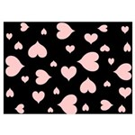 pink hearts blk bgrd 5x7 Flat Cards (Set of 20)