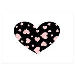 pink hearts blk bgrd 5x7 Flat Cards (Set of 10)