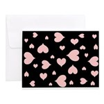 pink hearts blk bgrd Note Cards (Set of 20)