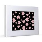 Pink Hearts Blk Bgrd 16x20 Canvas Print