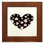 pink hearts blk bgrd Framed Ceramic Tile