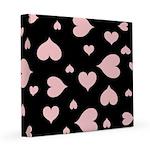 pink hearts blk bgrd 8x8 Canvas Print
