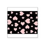 pink hearts blk bgrd Sticker (Square 10 pk)