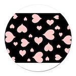 pink hearts blk bgrd Round Car Magnet