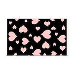 pink hearts blk bgrd Rectangle Car Magnet