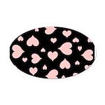 pink hearts blk bgrd Oval Car Magnet
