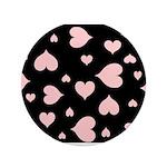 """pink hearts blk bgrd 3.5"""" Button"""