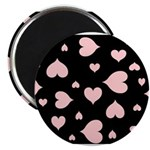 pink hearts blk bgrd Magnets