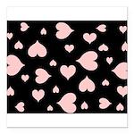 pink hearts blk bgrd Square Car Magnet
