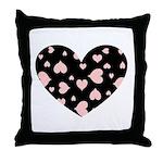 Pink Hearts Blk Bgrd Throw Pillow