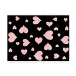 pink hearts blk bgrd Small Puzzle