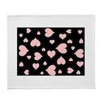 pink hearts blk bgrd Arctic Fleece Throw Blanket