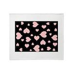 pink hearts blk bgrd Plush Fleece Throw Blanket