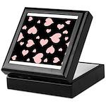 pink hearts blk bgrd Keepsake Box