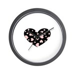 pink hearts blk bgrd Wall Clock