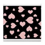 pink hearts blk bgrd Tile Coaster