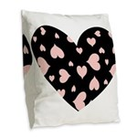 Pink Hearts Blk Bgrd Burlap Throw Pillow