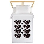 Pink Hearts Blk Bgrd Twin Duvet Cover