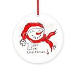 pink hearts blk bgrd Ceramic Round Ornament