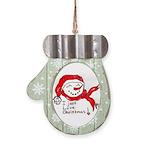 pink hearts blk bgrd Mitten Ornament