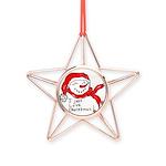 pink hearts blk bgrd Copper Star Ornament