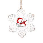 Pink Hearts Blk Bgrd Rustic Snowflake Ornament