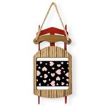 pink hearts blk bgrd Sled Ornament