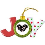 pink hearts blk bgrd Joy Ornament
