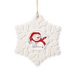 Pink Hearts Blk Bgrd Snowflake Ornament