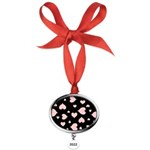pink hearts blk bgrd Oval Year Ornament