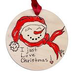 pink hearts blk bgrd Maple Round Ornament