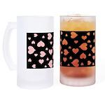 pink hearts blk bgrd Beer Mug
