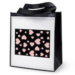 pink hearts blk bgrd Reusable Grocery Bag