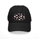 pink hearts blk bgrd Baseball Hat
