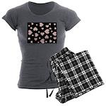 pink hearts blk bgrd Women's Pajama Set