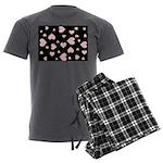 pink hearts blk bgrd Men's Pajamas