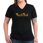 Tiggerific Travels Women's V-Neck Dark T-Shirt