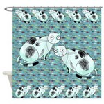 Funky Retro Cats and Fish Shower Curtain