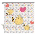 Pink Retro Balloon Cats Shower Curtain